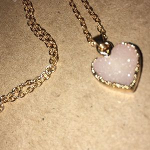 Pale pink druzy heart necklace
